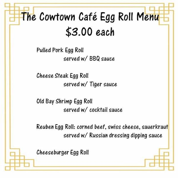 Cafe Egg Roll Menu