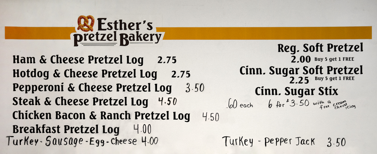 Esther's Pretzels Bakery Menu