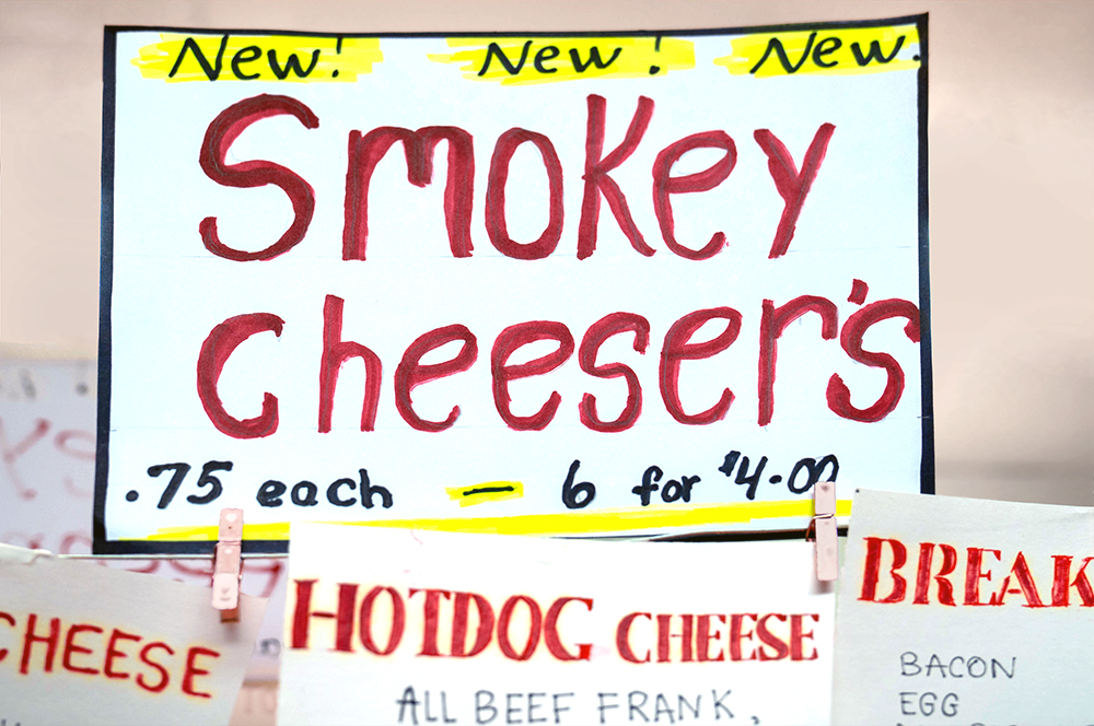 Esther's Pretzel Smokey Cheesers Sign